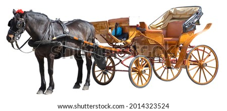 Old wooden carriage pulled by a stationary brown horse - image isolated on white background for easy selection Royalty-Free Stock Photo #2014323524
