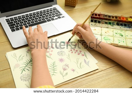 Woman drawing picture at online art lesson, closeup. Distant learning