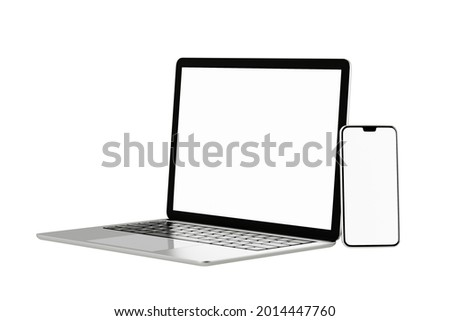 3D illustration rendering object. Laptop computer silver and black color with smartphone mobile blank screen isolated white background. Clipping path image.