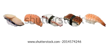 Various Sushi with Saba, Raw Salmon, Octopus, Eel or Unagi Sushi and Shrimp, isolated on white background. Usable for any Japanese Restaurant as Picture Menu and for Japanese food concept.