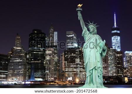 Manhattan Skyline and The Statue of Liberty at Night, New York City #201472568