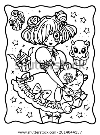 Coloring book for children. Coloring book for adults. Sweet witch. Gothic. Teddy bear. Halloween.