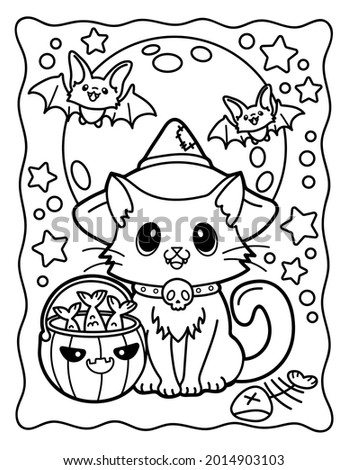 Coloring book for children. Coloring book for adults. Magic cat in a witch's hat. Witch. Witch cat. Magic. Halloween.