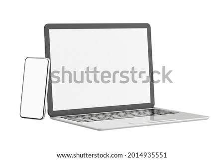 3D illustration rendering object. Laptop computer with smartphone mobile blank screen isolated white background. Clipping path image.