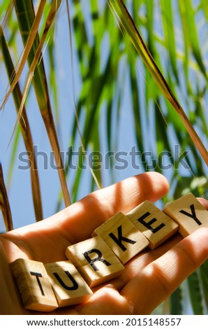 Lettering Turkey on hand against background of blurred turquoise sea, blue sky and palm leaves. Inscription Turkey. Sea vacation concept. Representation of country resorts. Royalty-Free Stock Photo #2015148557