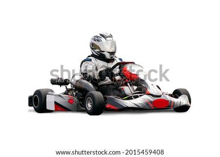 Go Kart Racer Isolated Over White Background.  Kart is Black, Grey and Red. Royalty-Free Stock Photo #2015459408