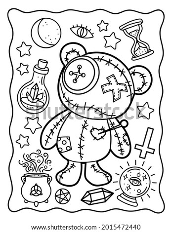 Coloring. Coloring book for children. Bear. Voodoo toy. Halloween. Coloring book for adults. Black and white illustration.
