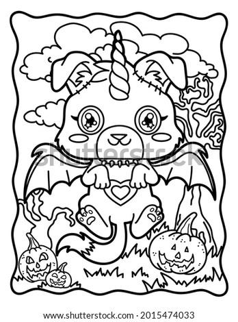 Coloring book for children. Chibi. Chibi dog. Magic dog. Coloring book for adults. Halloween Magic.