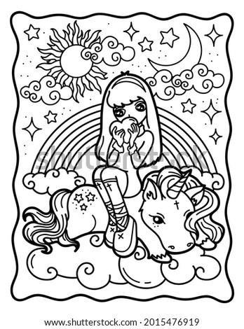 Cute witch with a unicorn. Cool coloring book for kids. Chibi. Gothic. Coloring book for adults. Halloween Magic.