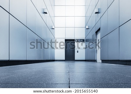 Corridor Doorway of Modern Elevator in Office Building, Architecture Contemporary and Interior Aluminum Composite Panel Decoration of Elevators Hall. Perspective Lift Doors Entrance of Architectural