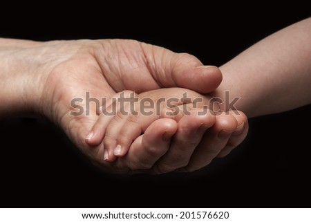 Old woman and baby hands  #201576620