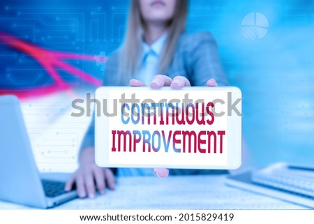 Text caption presenting Continuous Improvement. Conceptual photo making small consistent improvements over time Business Woman Sitting In Office Holding Mobile Displaying Futuristic Ideas.