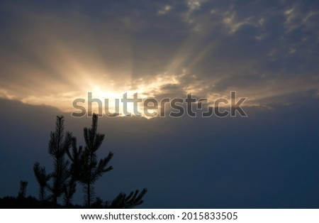 Heavy stormy dark rainy sky with cloud with sun illuminated hole over the field and forest silhouette on a summer evening, beautiful natural landscape. High quality photo Royalty-Free Stock Photo #2015833505