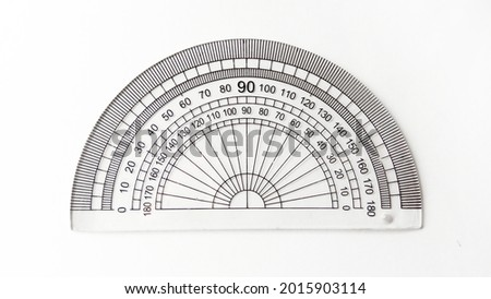 Semicircular protractor isolated on white background. Measure and create plane angles in radians.