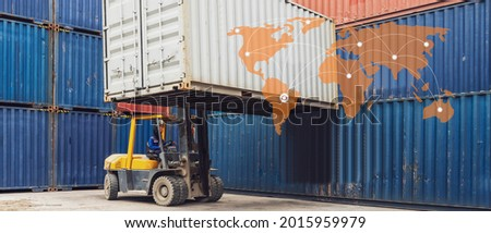Banner photo of Forklift handling container box loading to freight train in logistics zone