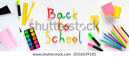 Stationery on white background, flat lay. Back to school concept. Banner