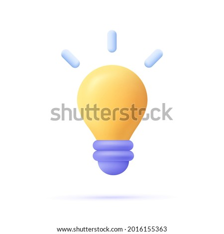 3d cartoon style minimal yellow light bulb icon. Idea, solution, business, strategy concept.  Royalty-Free Stock Photo #2016155363