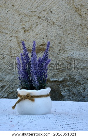 White vase with lavander on stone wall background. High quality photo Royalty-Free Stock Photo #2016351821