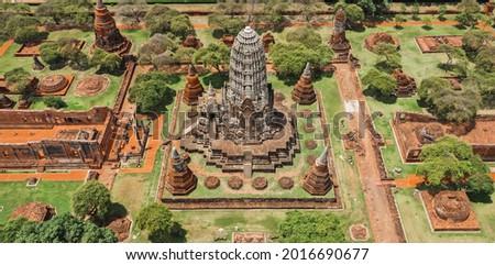 Aerial view of Ayutthaya temple, Wat Ratchaburana, empty during covid, in Phra Nakhon Si Ayutthaya, Historic City in Thailand Royalty-Free Stock Photo #2016690677