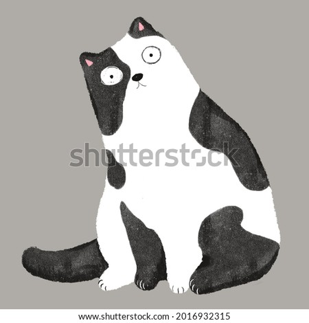 Hand-drawn pastel illustration big cute cat in black and white color sitting and looking surprisingly