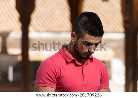 Muslim Man Is Praying In The Mosque Outdoors #201709226