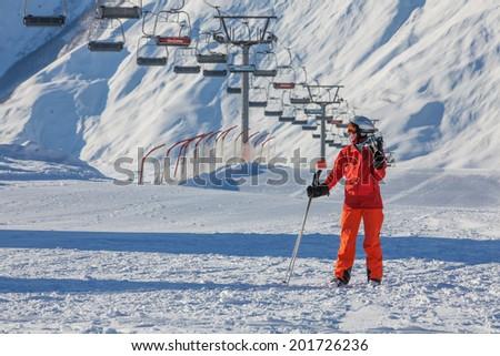 Skier is posing at camera at Gudauri resort in high mountaing of Georgia, Caucasus #201726236