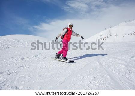 snowboarders is posing at camera at Gudauri resort in high mountaing of Georgia, Caucasus #201726257