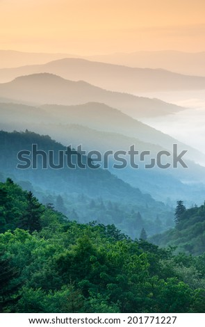 Great Smoky Mountain National Park Oconaluftee River Valley Overlook along Newfound Gap Road #201771227