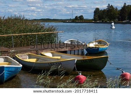 Many boats at the pier . High quality photo Royalty-Free Stock Photo #2017718411