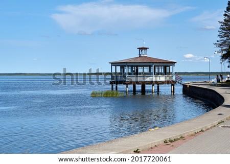 Seaside promenade and resort pavilion in Haapsalu, Estonia. High quality photo Royalty-Free Stock Photo #2017720061