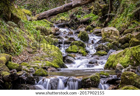 A forest stream flows over mossy stones. Mossy rocks river stream flow. Flow in mossy forest Royalty-Free Stock Photo #2017902155