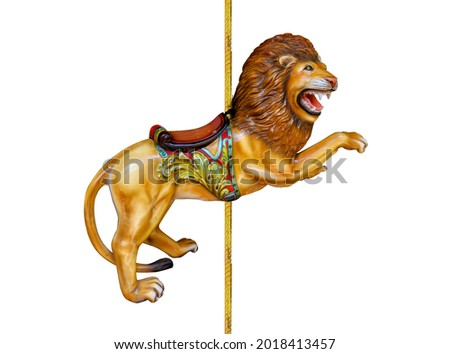 Carnival carousel lion isolated on white background Royalty-Free Stock Photo #2018413457