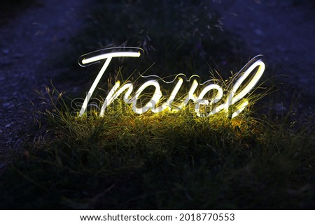 Yellow neon sign travel. Trendy style. Neon sign. Custom neon. Travel vibe.