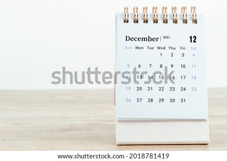 December Calendar 2021 on wooden table background. Royalty-Free Stock Photo #2018781419