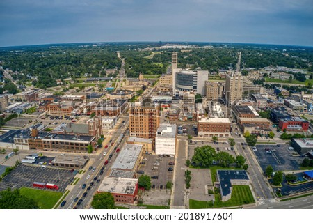 Aerial View of Downtown Pontiac, Michigan during Summer Royalty-Free Stock Photo #2018917604
