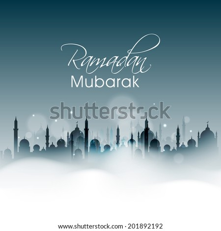 Silhouette of a mosque in night background for holy month of Muslim community Ramadan Mubarak celebrations.  #201892192