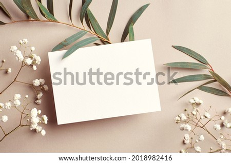 Wedding invitation card mockup with natural eucalyptus and white gypsophila plant twigs. Blank card mockup on beige background. Royalty-Free Stock Photo #2018982416