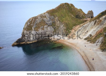 Lulworth Cove beach in Dorset, southern England.