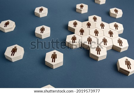 People form the core of an organization. Formation of company personnel, staffing. Hiring employees, recruiting staff. Human resources. Grouping and consolidation, self-organization. Social processes. Royalty-Free Stock Photo #2019573977