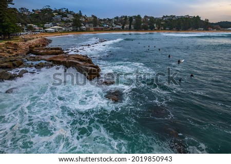 Sunrise seascape from above at Avoca Beach on the Central Coast, NSW, Australia. Royalty-Free Stock Photo #2019850943