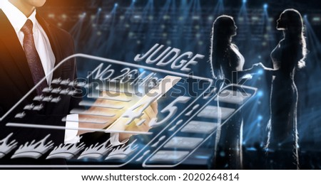 Two Contestant Miss Beauty Pageant Queen Contest hold hands together on stage light as silhouette. They wait for Final winner moment from Fairness Judge who give her as Vote and Rating score Royalty-Free Stock Photo #2020264814