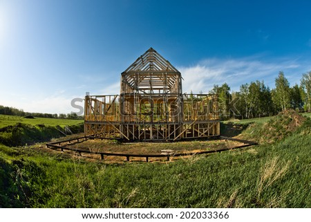 horizontal photo building site framehouse on nature #202033366