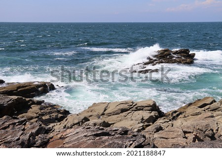 The wild coast of Quiberon in Brittany , France is a beautiful seascape with rocks and waves Royalty-Free Stock Photo #2021188847