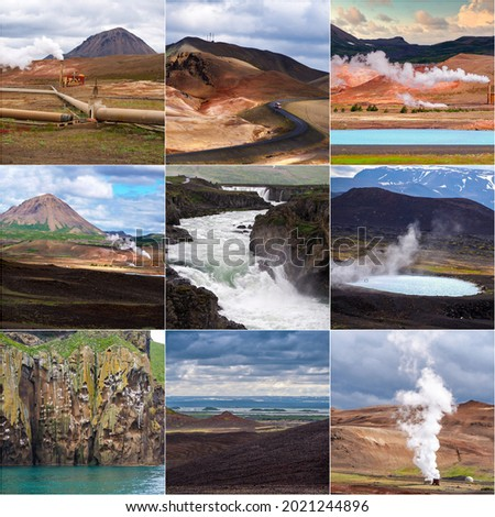 Iceland , collage of 9 beautiful  pictures