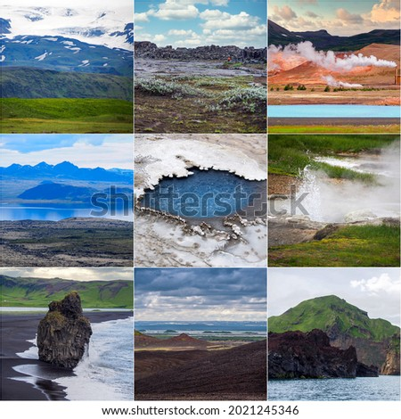 Iceland, collage of 9 nature pictures