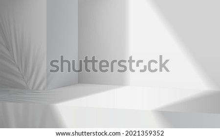 3d gray stage background product display podium scene with leaf platform. grey background vector 3d render with podium. stand to show cosmetic product. 3d Stage showcase on display white background Royalty-Free Stock Photo #2021359352