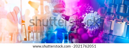 Panoramic web banner of Doctor use microscope in a medical research lab or science laboratory, study for making vaccine to protection a coronavirus(Delta).Vaccine sars-cov-2 COVID-19 medical concept