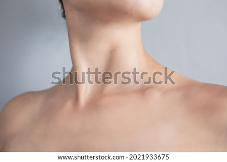 Swollen supraclavicular node. Lump on the clavicle. Fluid-filled lump associated with a tumor or a swollen lymph node. Royalty-Free Stock Photo #2021933675