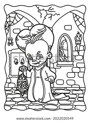 Coloring book for children. Count Dracula in the castle. Coloring book for adults. Halloween. Coloring book for Halloween. Cute horror movies.