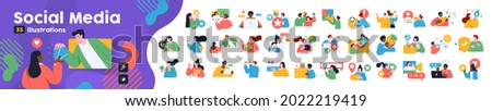 Social Media Marketing illustrations. Mega set. Collection of scenes with men and women taking part in business activities. Trendy vector style Royalty-Free Stock Photo #2022219419